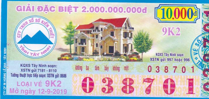 Mẫu vé số kiến thiết Tây Ninh